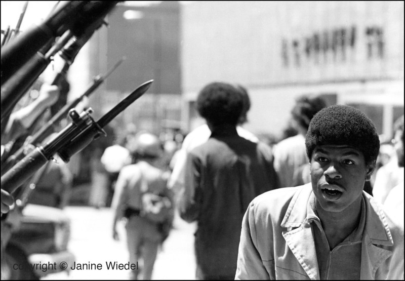 Black power demonstration and riots in Oakland California in 1969.